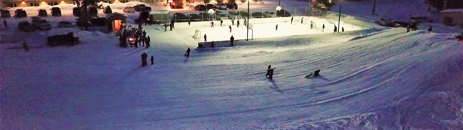 Pioneer Park sled hill at night